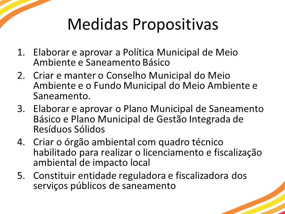 Medidas Propositivas Elaborar e aprovar a Política Municipal de Meio Ambiente e Saneamento Básico.