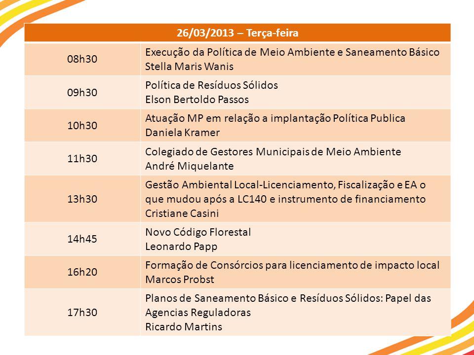 26/03/2013 – Terça-feira 08h30. Execução da Política de Meio Ambiente e Saneamento Básico. Stella Maris Wanis.
