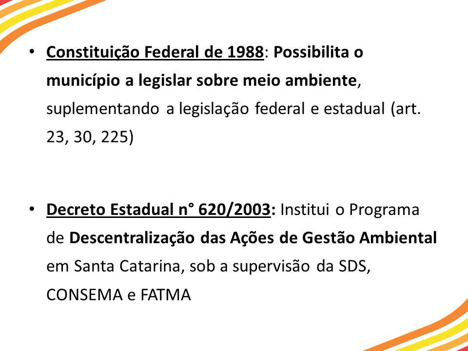 Constituição Federal de 1988: Possibilita o município a legislar sobre meio ambiente, suplementando a legislação federal e estadual (art. 23, 30, 225)