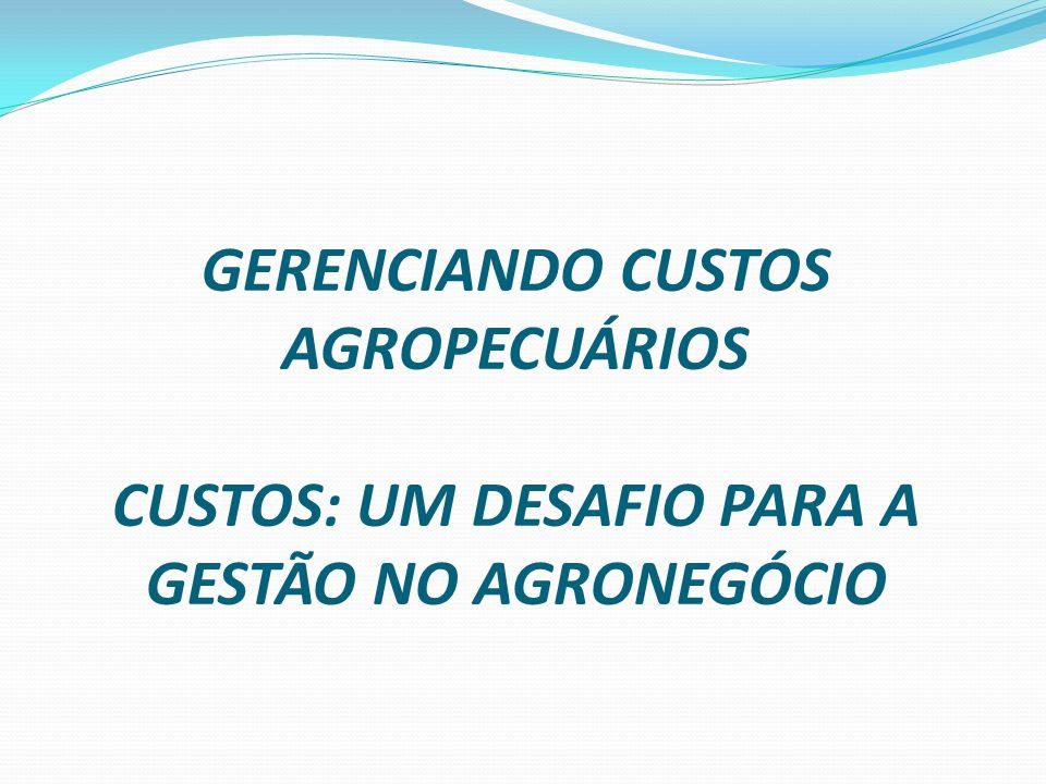 GERENCIANDO CUSTOS AGROPECUÁRIOS CUSTOS: UM DESAFIO PARA A GESTÃO NO AGRONEGÓCIO