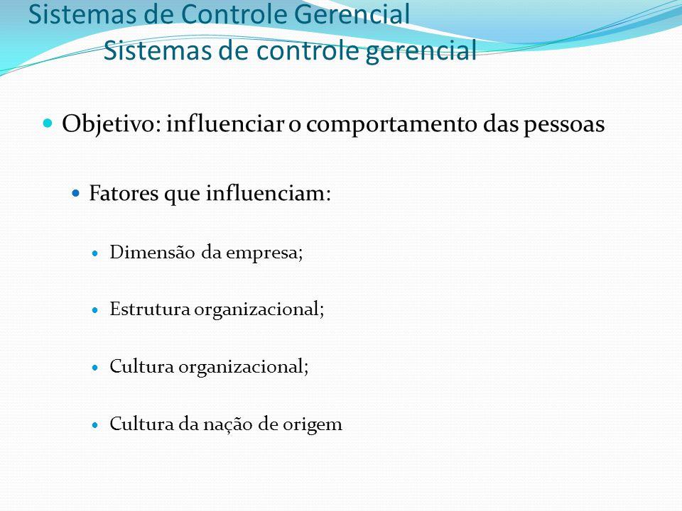 Sistemas de Controle Gerencial Sistemas de controle gerencial