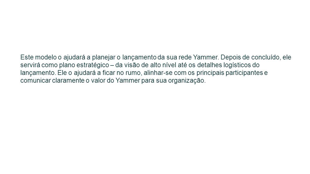 Este modelo o ajudará a planejar o lançamento da sua rede Yammer