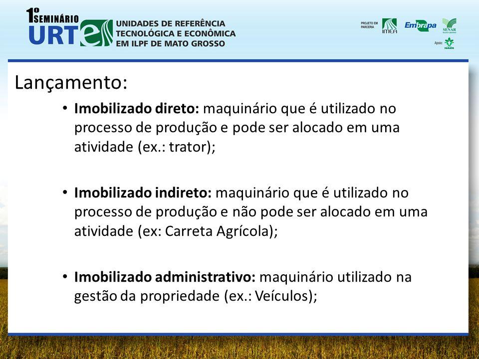 Lançamento: Imobilizado direto: maquinário que é utilizado no processo de produção e pode ser alocado em uma atividade (ex.: trator);
