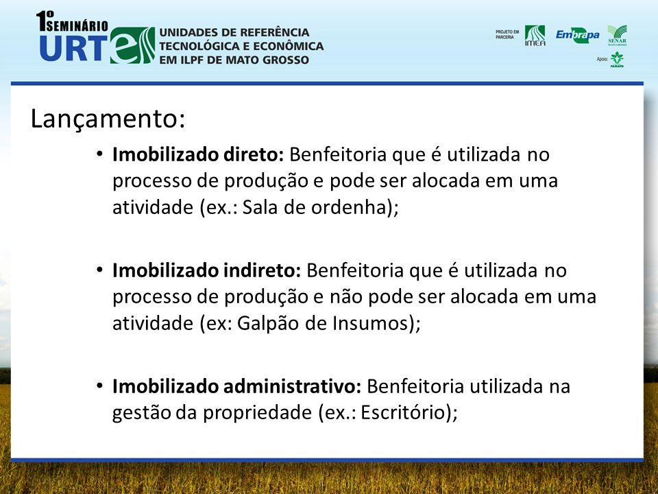 Lançamento: Imobilizado direto: Benfeitoria que é utilizada no processo de produção e pode ser alocada em uma atividade (ex.: Sala de ordenha);