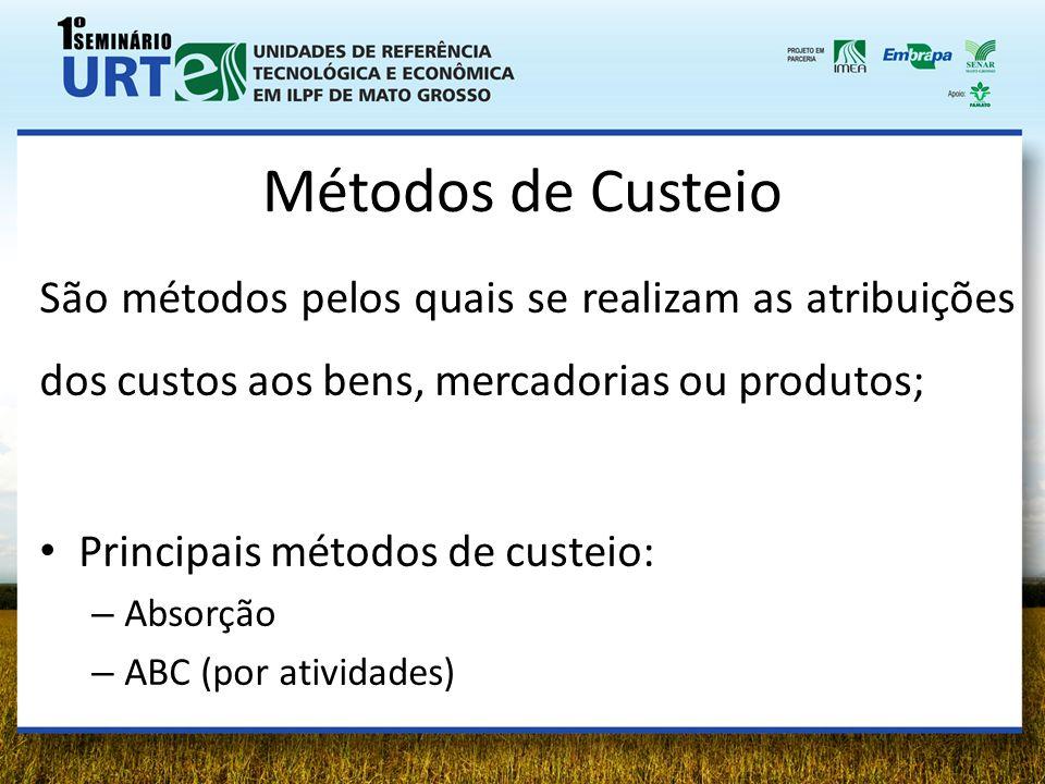 Métodos de Custeio São métodos pelos quais se realizam as atribuições dos custos aos bens, mercadorias ou produtos;