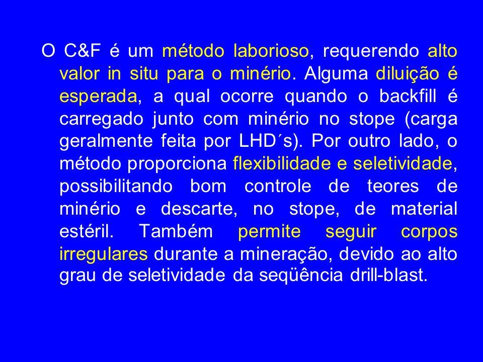 O C&F é um método laborioso, requerendo alto valor in situ para o minério.