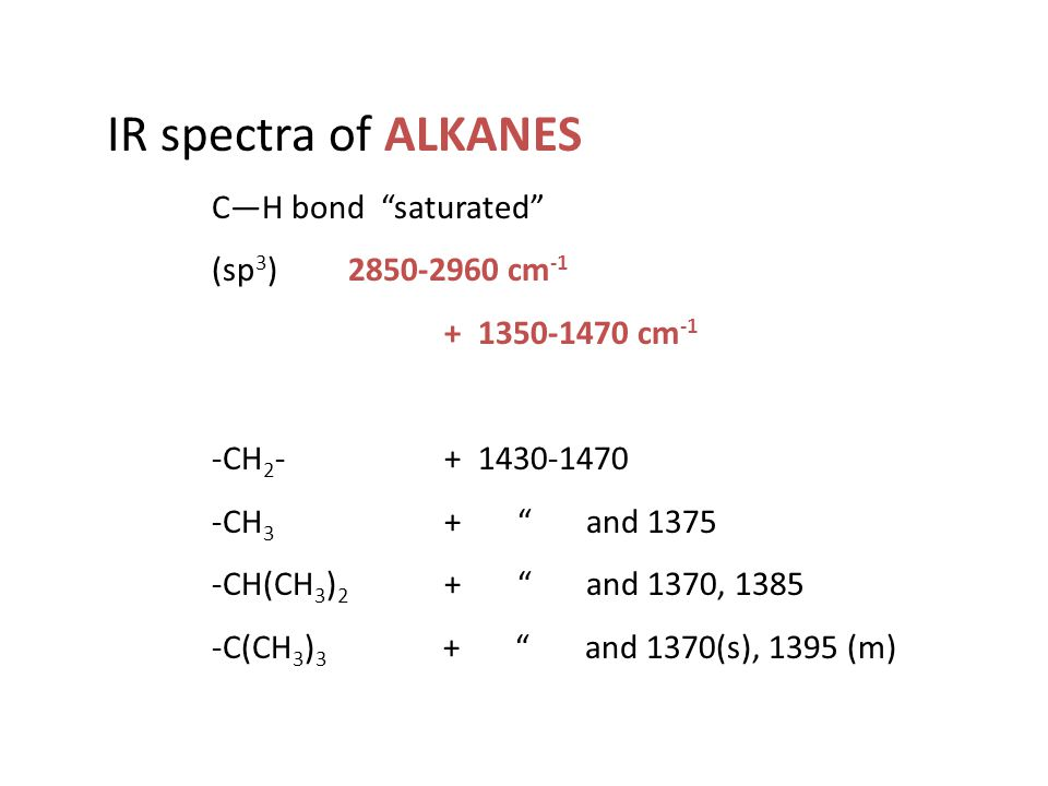IR spectra of ALKANES C—H bond saturated (sp3) 2850-2960 cm-1
