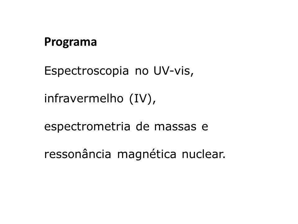 Programa Espectroscopia no UV-vis, infravermelho (IV),