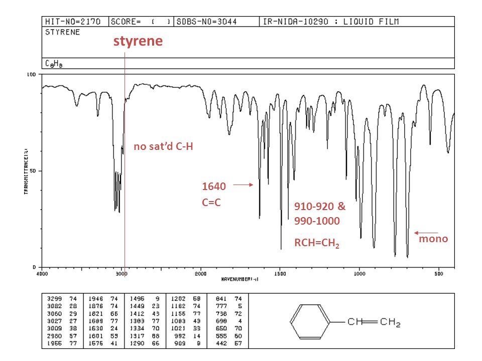 styrene no sat'd C-H 1640 C=C 910-920 & 990-1000 RCH=CH2 mono