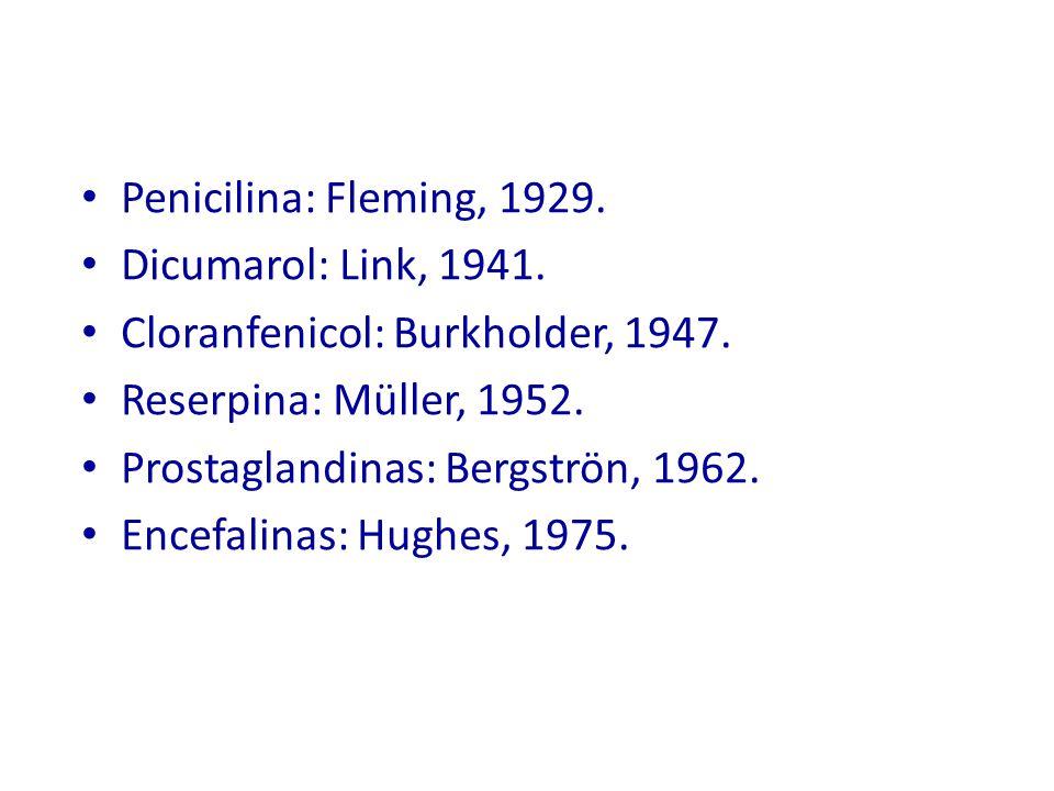 Penicilina: Fleming, 1929. Dicumarol: Link, 1941. Cloranfenicol: Burkholder, 1947. Reserpina: Müller, 1952.