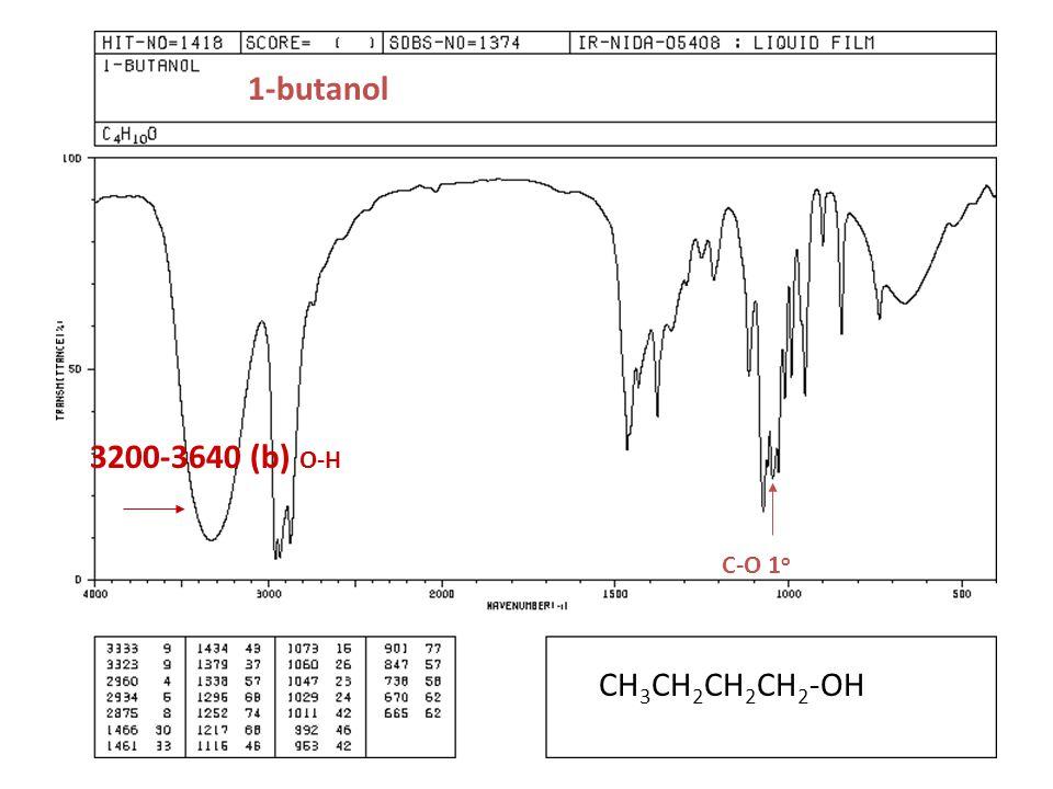 1-butanol 3200-3640 (b) O-H C-O 1o CH3CH2CH2CH2-OH