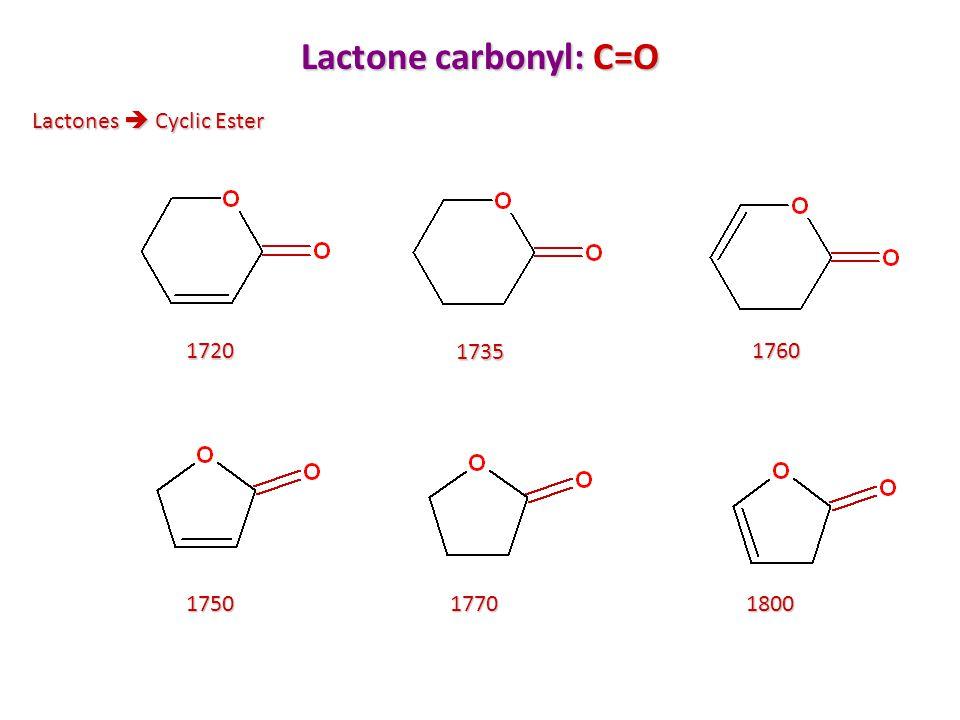 Lactone carbonyl: C=O Lactones  Cyclic Ester 1720 1735 1760 1750 1770
