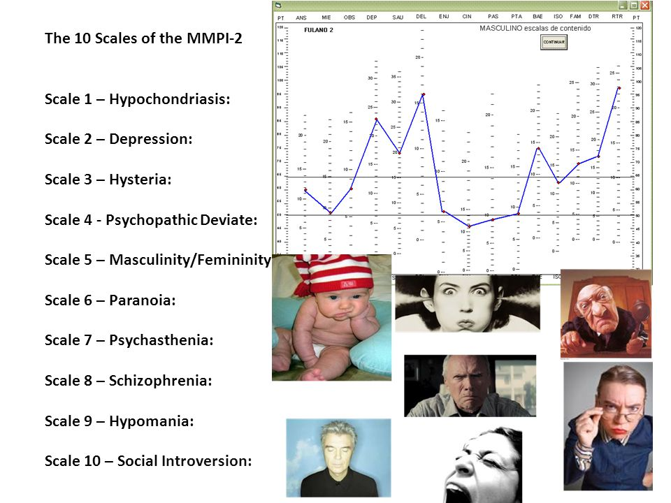 The 10 Scales of the MMPI-2 Scale 1 – Hypochondriasis: Scale 2 – Depression: Scale 3 – Hysteria: Scale 4 - Psychopathic Deviate: