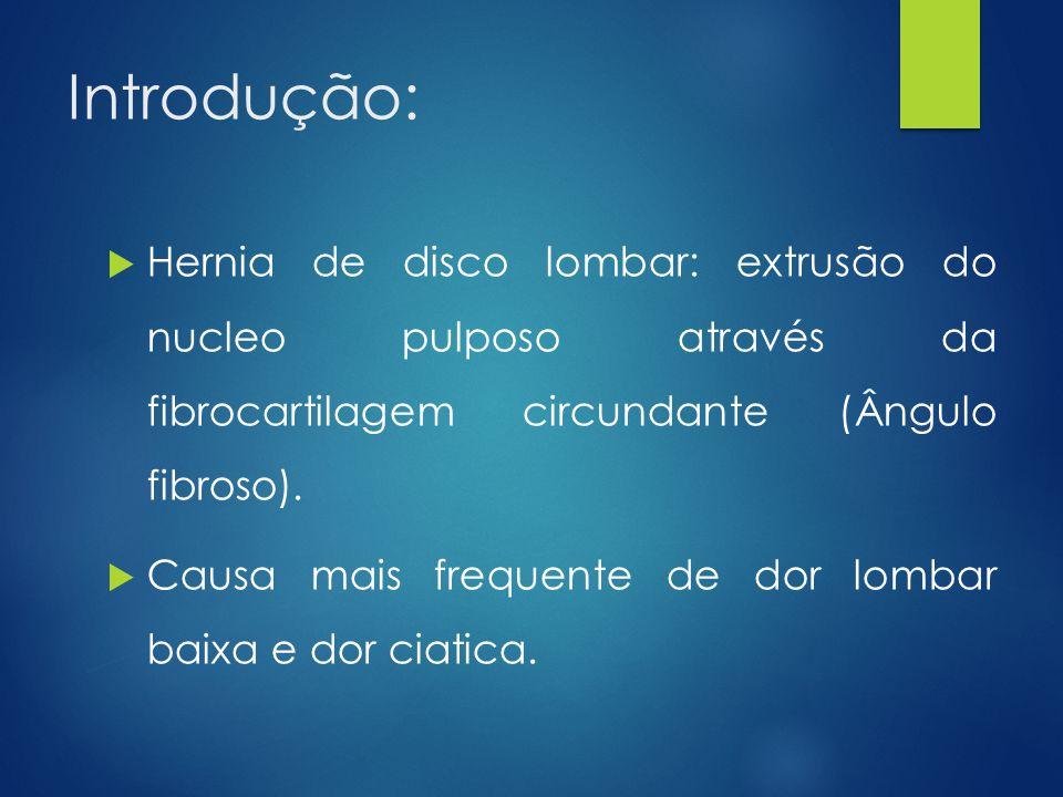 Introdução: Hernia de disco lombar: extrusão do nucleo pulposo através da fibrocartilagem circundante (Ângulo fibroso).