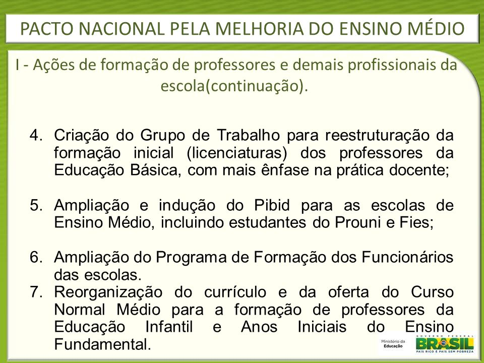 PACTO NACIONAL PELA MELHORIA DO ENSINO MÉDIO