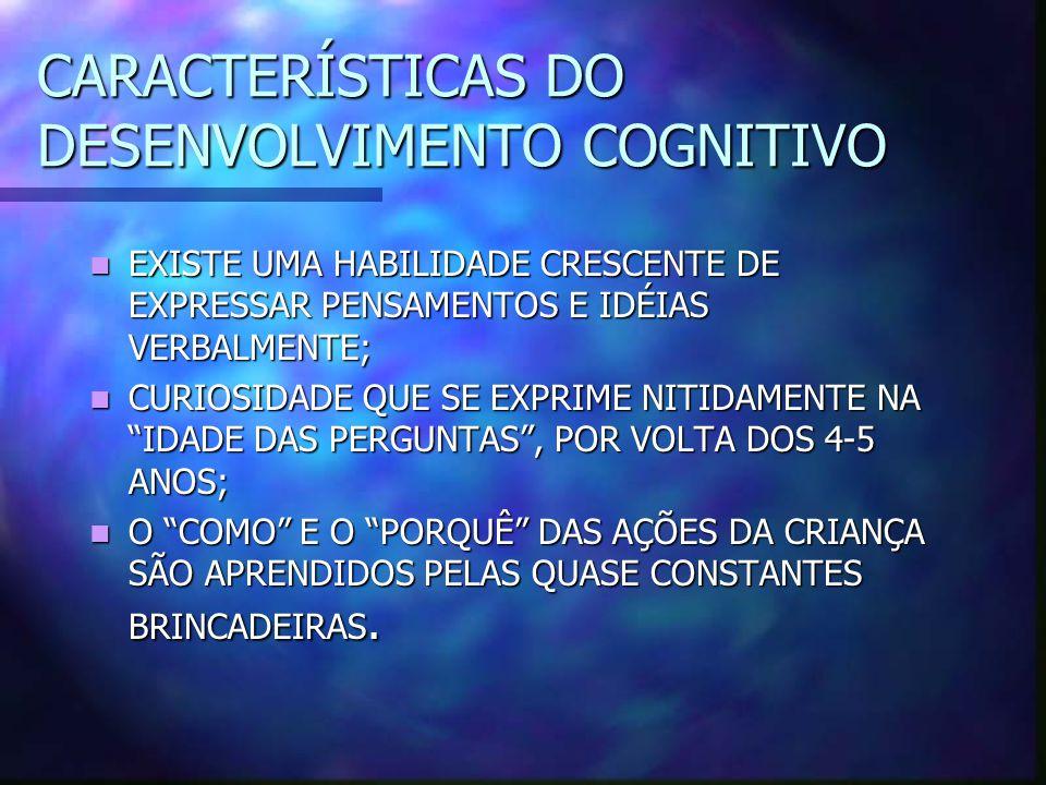 CARACTERÍSTICAS DO DESENVOLVIMENTO COGNITIVO