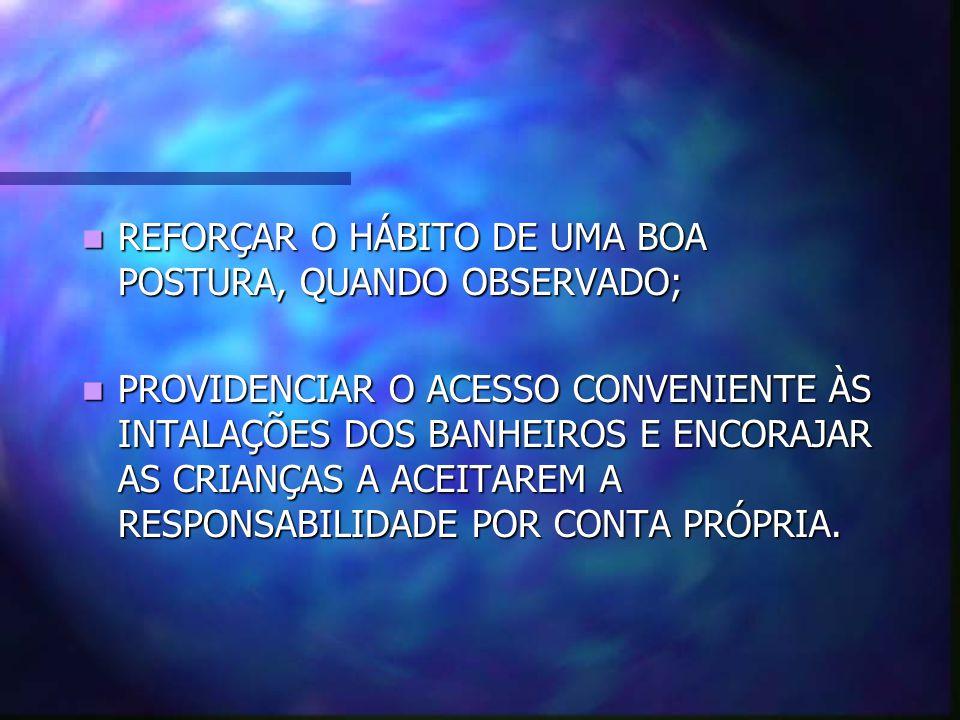 REFORÇAR O HÁBITO DE UMA BOA POSTURA, QUANDO OBSERVADO;