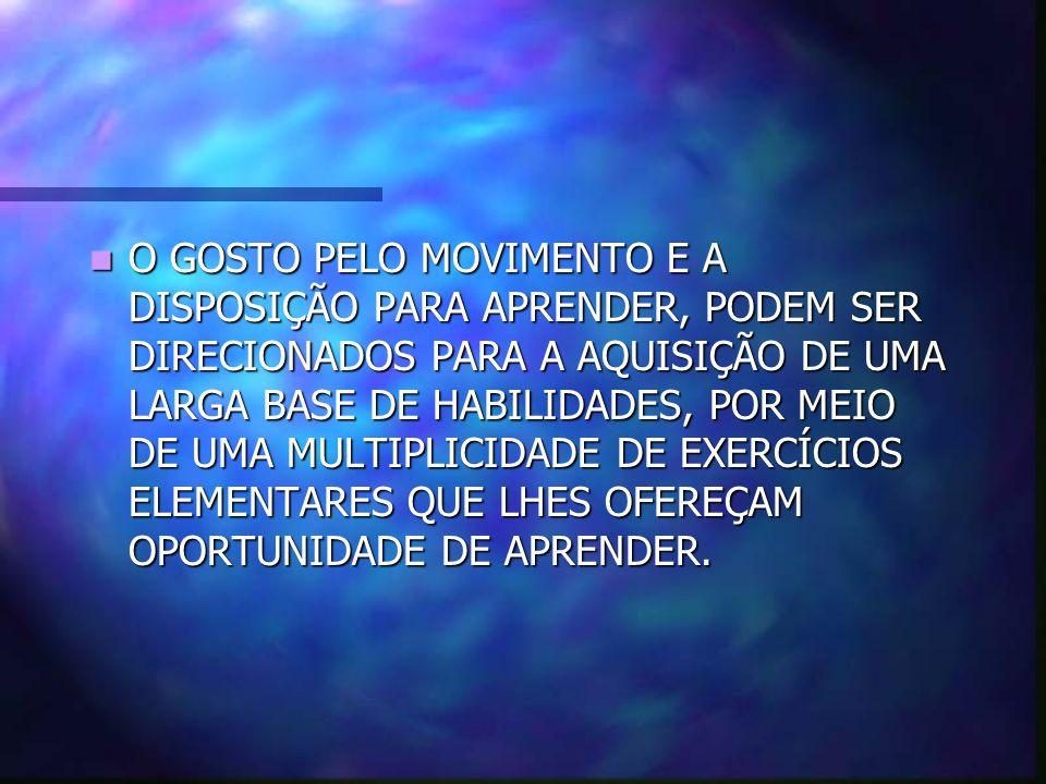 O GOSTO PELO MOVIMENTO E A DISPOSIÇÃO PARA APRENDER, PODEM SER DIRECIONADOS PARA A AQUISIÇÃO DE UMA LARGA BASE DE HABILIDADES, POR MEIO DE UMA MULTIPLICIDADE DE EXERCÍCIOS ELEMENTARES QUE LHES OFEREÇAM OPORTUNIDADE DE APRENDER.