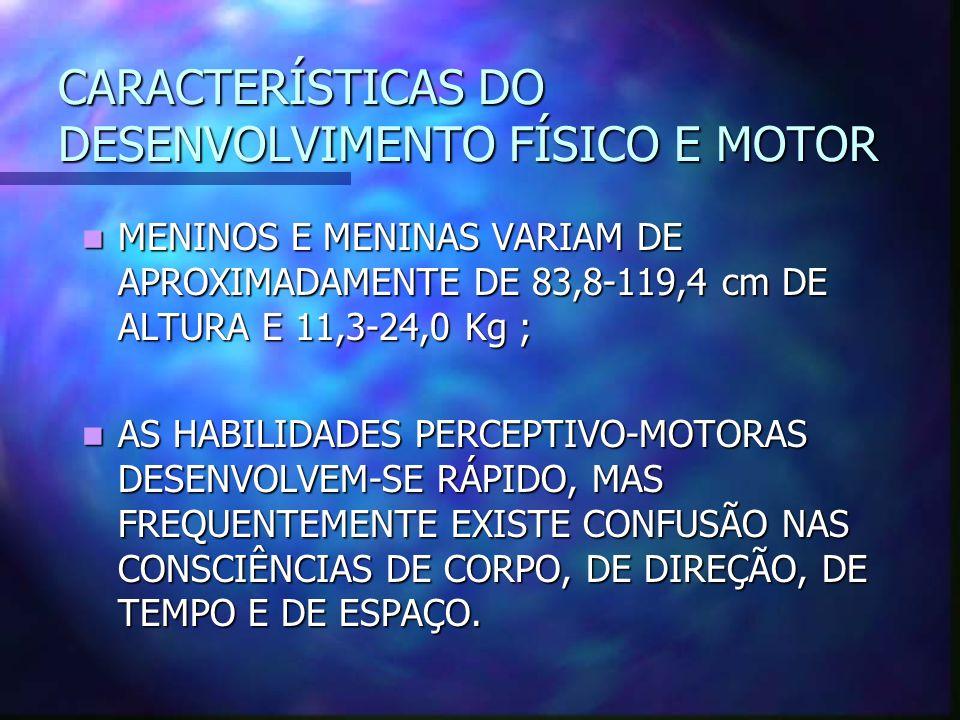 CARACTERÍSTICAS DO DESENVOLVIMENTO FÍSICO E MOTOR