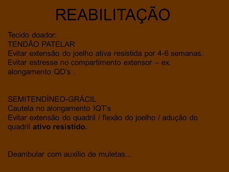 REABILITAÇÃO Tecido doador: TENDÃO PATELAR