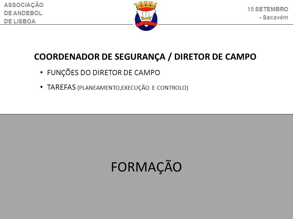 FORMAÇÃO COORDENADOR DE SEGURANÇA / DIRETOR DE CAMPO
