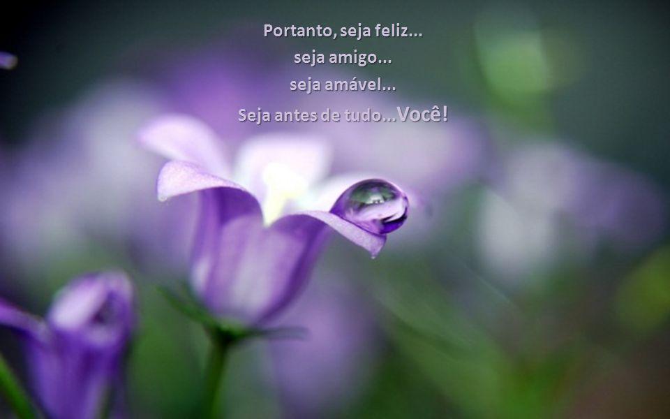 Portanto, seja feliz... seja amigo... seja amável... Seja antes de tudo...Você!