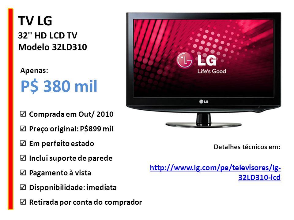 P$ 380 mil TV LG 32 HD LCD TV Modelo 32LD310 Apenas: