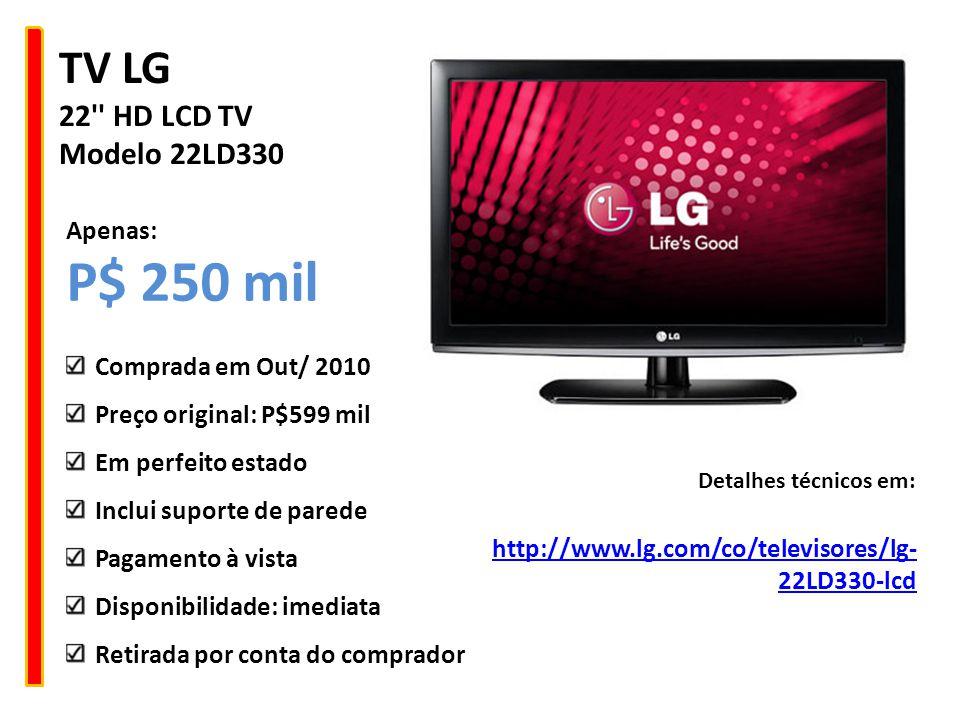 P$ 250 mil TV LG 22 HD LCD TV Modelo 22LD330 Apenas: