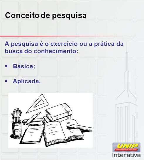 Conceito de pesquisa A pesquisa é o exercício ou a prática da busca do conhecimento: Básica; Aplicada.