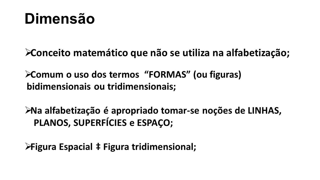 Dimensão Conceito matemático que não se utiliza na alfabetização;