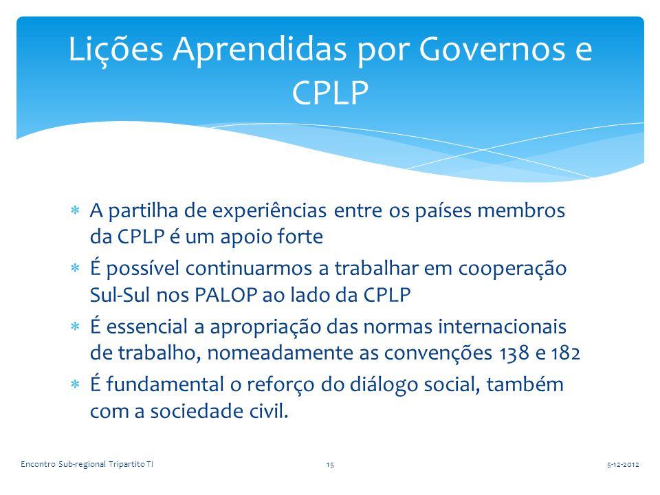 Lições Aprendidas por Governos e CPLP