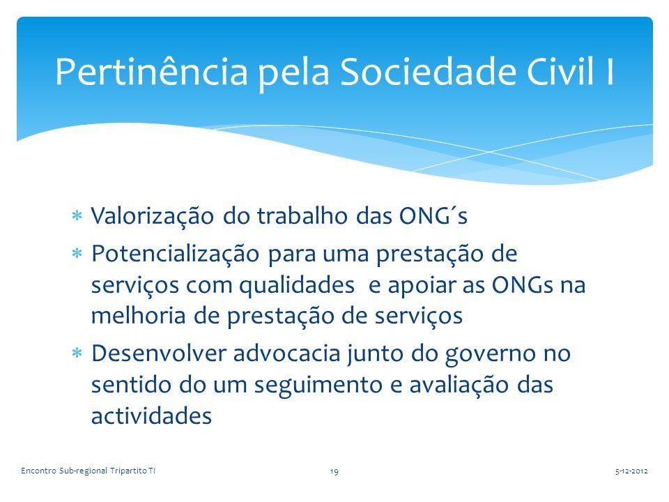 Pertinência pela Sociedade Civil I