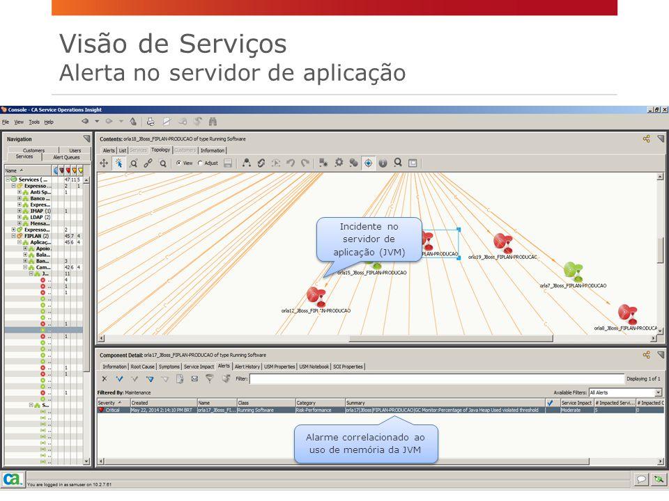 Visão de Serviços Alerta no servidor de aplicação