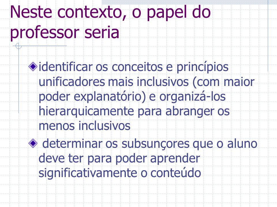 Neste contexto, o papel do professor seria
