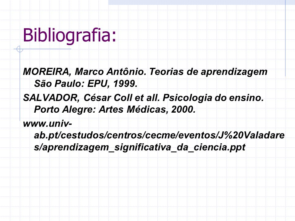 Bibliografia: MOREIRA, Marco Antônio. Teorias de aprendizagem São Paulo: EPU, 1999.