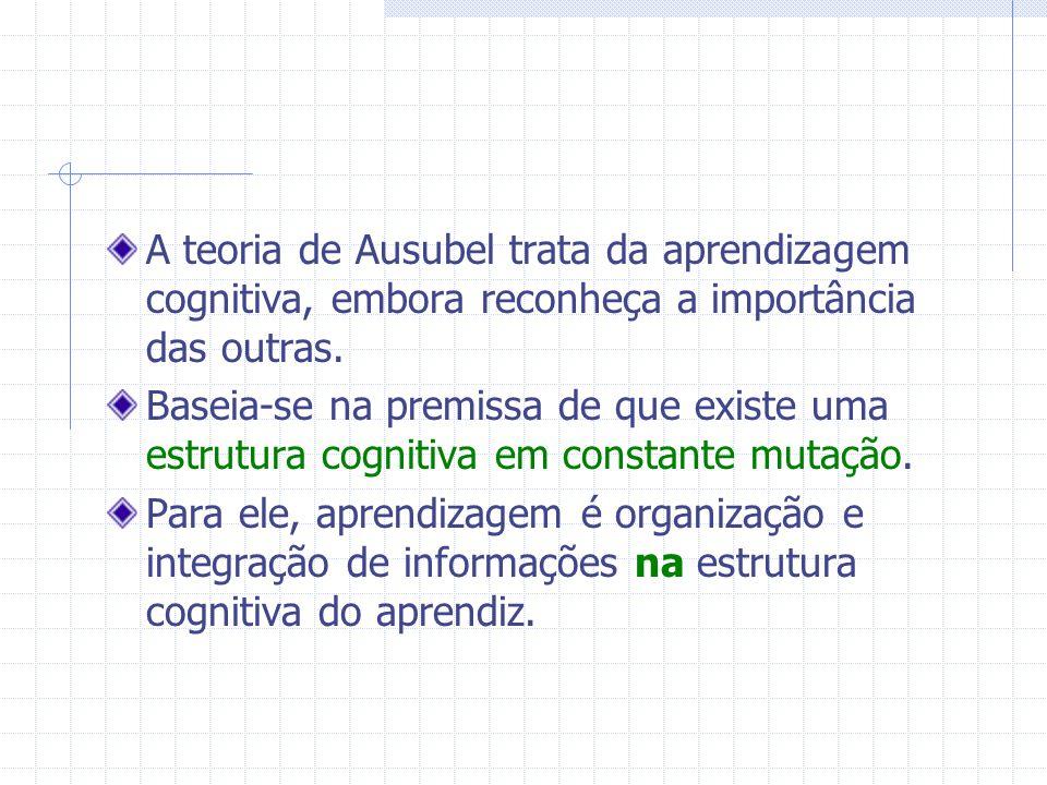 A teoria de Ausubel trata da aprendizagem cognitiva, embora reconheça a importância das outras.