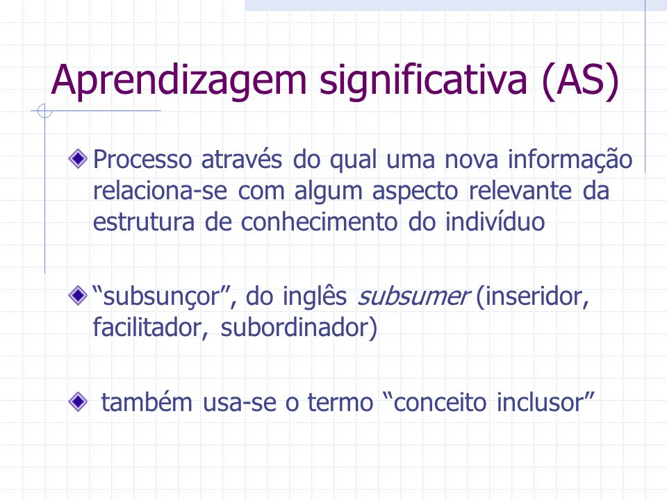 Aprendizagem significativa (AS)
