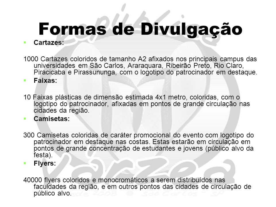 Formas de Divulgação Cartazes: