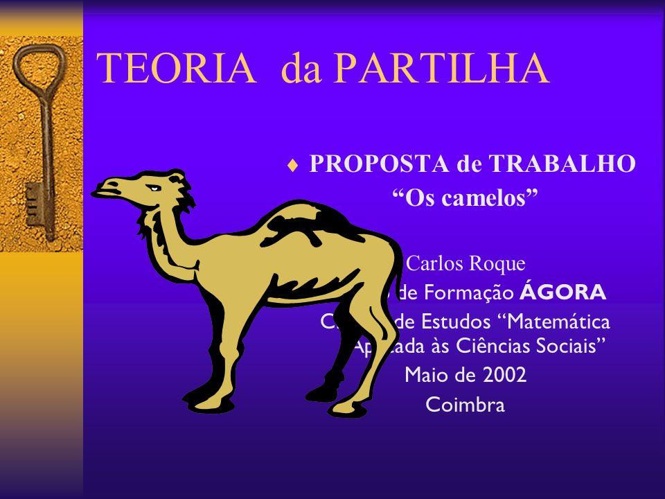TEORIA da PARTILHA PROPOSTA de TRABALHO Os camelos Carlos Roque