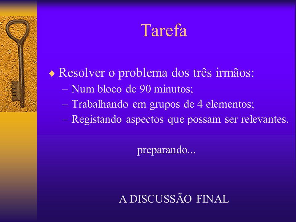 Tarefa Resolver o problema dos três irmãos: Num bloco de 90 minutos;