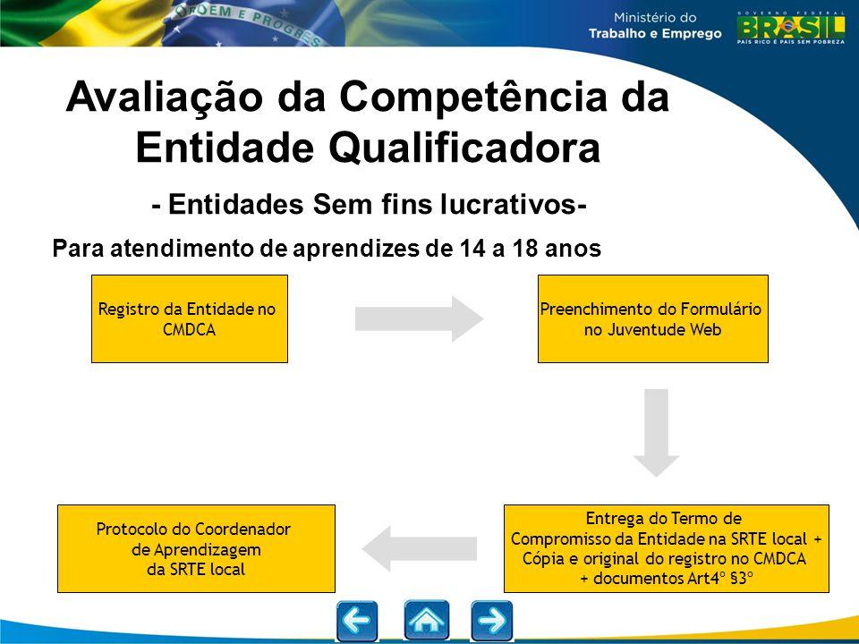 Avaliação da Competência da Entidade Qualificadora - Entidades Sem fins lucrativos-