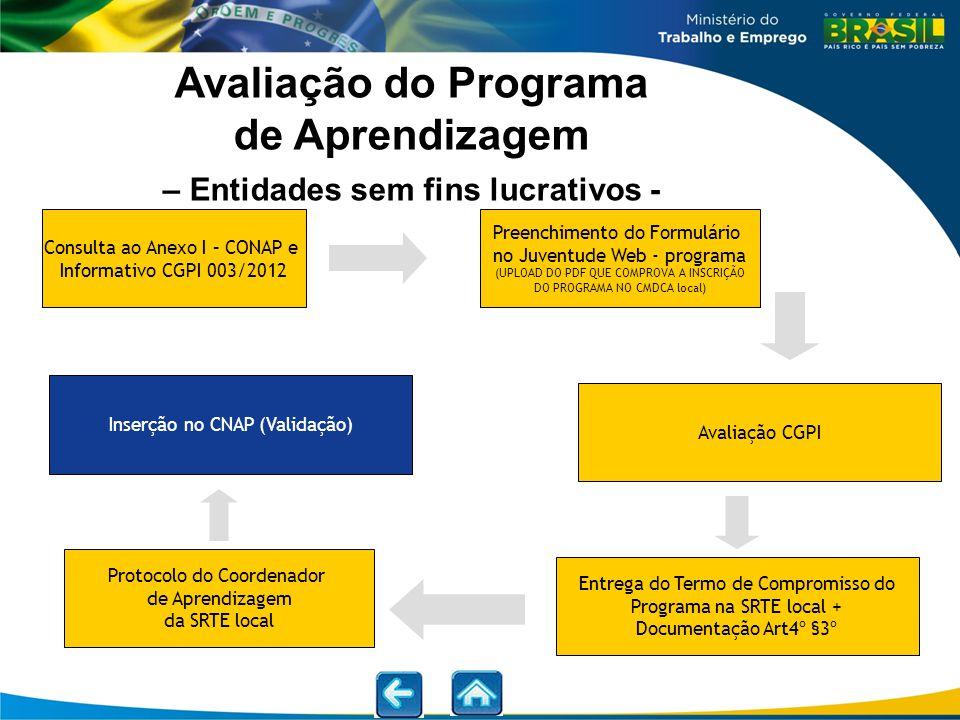 Avaliação do Programa de Aprendizagem – Entidades sem fins lucrativos -