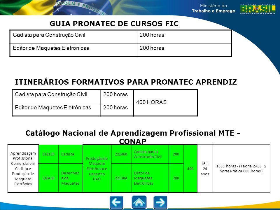 GUIA PRONATEC DE CURSOS FIC