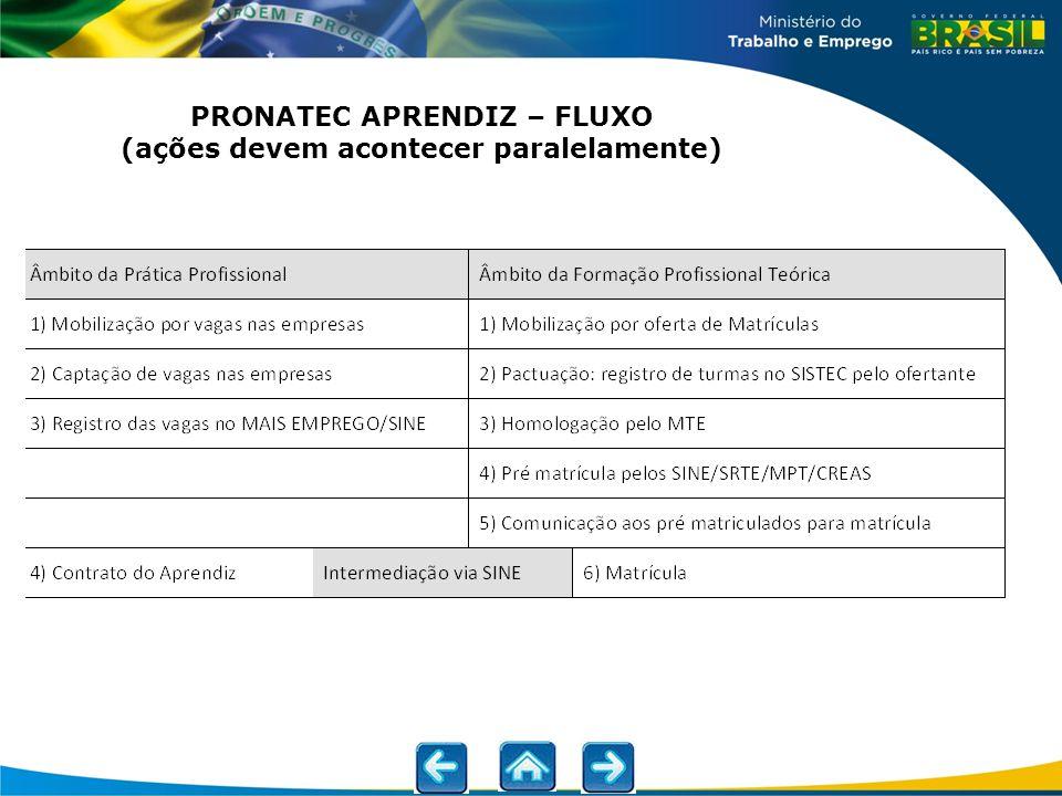 PRONATEC APRENDIZ – FLUXO (ações devem acontecer paralelamente)