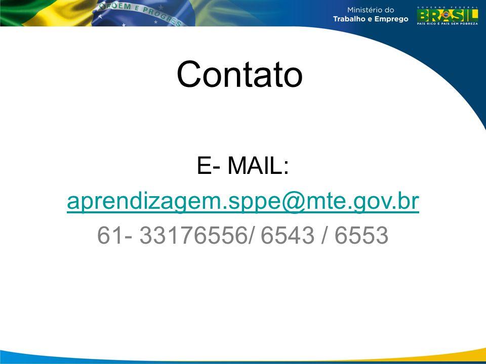 Contato E- MAIL: aprendizagem.sppe@mte.gov.br