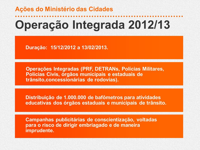 Operação Integrada 2012/13 Ações do Ministério das Cidades