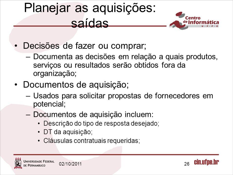 Planejar as aquisições: saídas