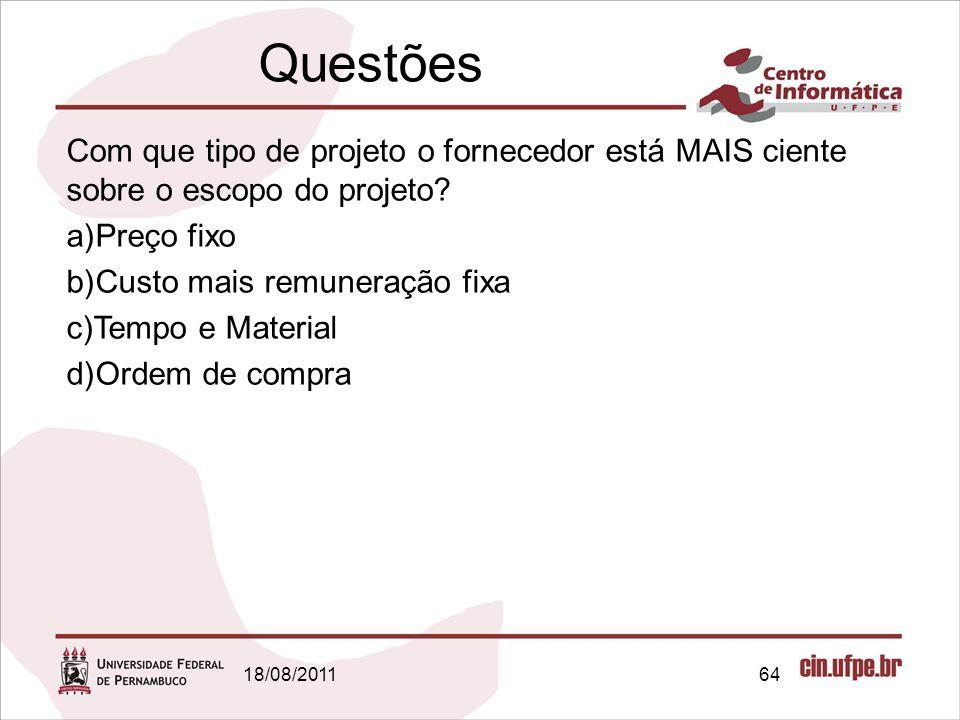 Questões Com que tipo de projeto o fornecedor está MAIS ciente sobre o escopo do projeto Preço fixo.