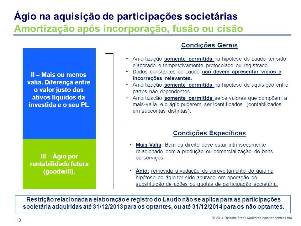Condições Específicas III – Ágio por rentabilidade futura (goodwill).