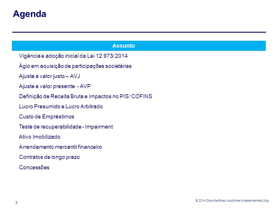 Agenda Assunto Vigência e adoção inicial da Lei 12.973/ 2014